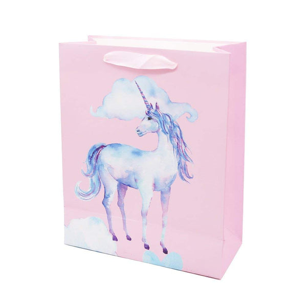 "UNIQOOO 12PC Rainbow Magic Unicorn Gift Bag Bulk,12.5""x10.5X4 Large 100% Recyclable Retail Shopping Bags, Silk Ribbon Handle/Wedding,Baby Shower, Birthday Party, Tech Startup Event Giveaway Promotion"