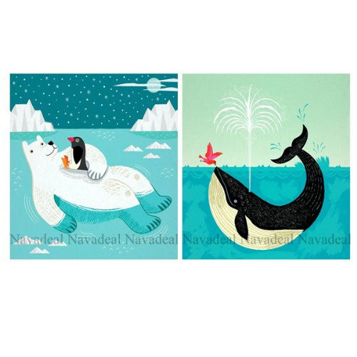 2Pcs Cute Shamu Whale Polar Bear Penguin Decorative Canvas Posters