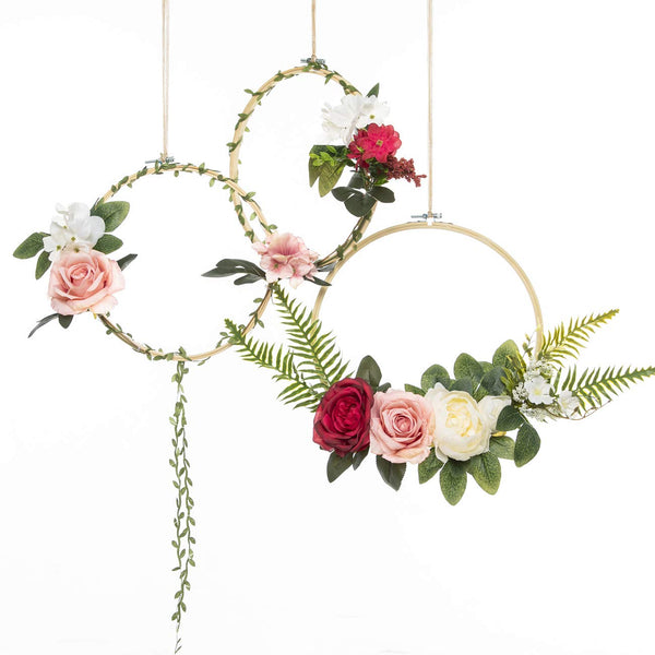 UNIQOOO Set of 3 Floral Hoops Wreaths | Modern Chic Artificial Rose Peony Fern Flower