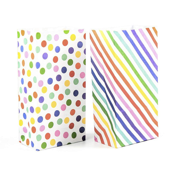 UNIQOOO Party Favor Rainbow Polka Dot and Stripe Treat Bags - 72 Pcs- Party Favor Candy Bags, Recyclable Paper Goodie Bags for Kids Birthday Party, Baby Shower, Party Supplies Decoration