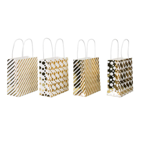 "UNIQOOO 12Pcs Premium Bulk Small Gold Chrome Metallic Gift Treat Bags, Polka Dots, Strips Kraft Paper Handle Wrapping Bags, 6 3/4"" x 5 3/4 x2 3/4"" for Party, Holiday,Christmas Holiday Gift Bags  Brand Name:  UNIQOOO"
