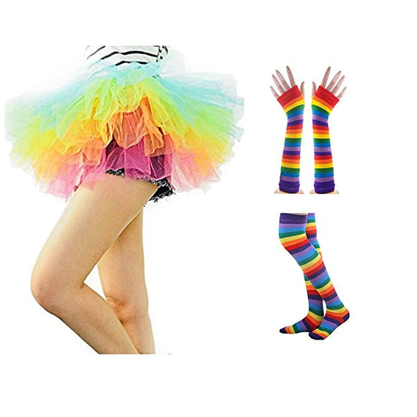 NAVAdeal Colorful Rainbow Stripe Costume Set Stockings Gloves Ballet Tutu Skirt