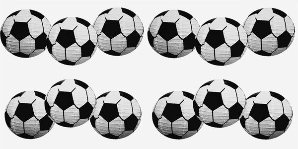 UNIQOOO 12 Pcs Premium 12'' Soccer Football Paper Lantern Set, Reusable Hanging Decorative Japanese Chinese Paper Lanterns, Easy Assemble for Sports GameSoccer Ball Party Bar Decorations