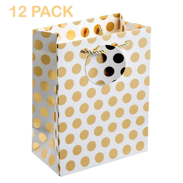 "UNIQOOO 12Pcs Premium M-Size Gold Metallic Polka Dots Gift Bags Bulk, 9""x 7X 3 1/4"" 100% Recyclable Paper Retail Shopping Bags,Satin Handle for Wedding,Baby Shower, Birthday Party,Christmas Holidays"