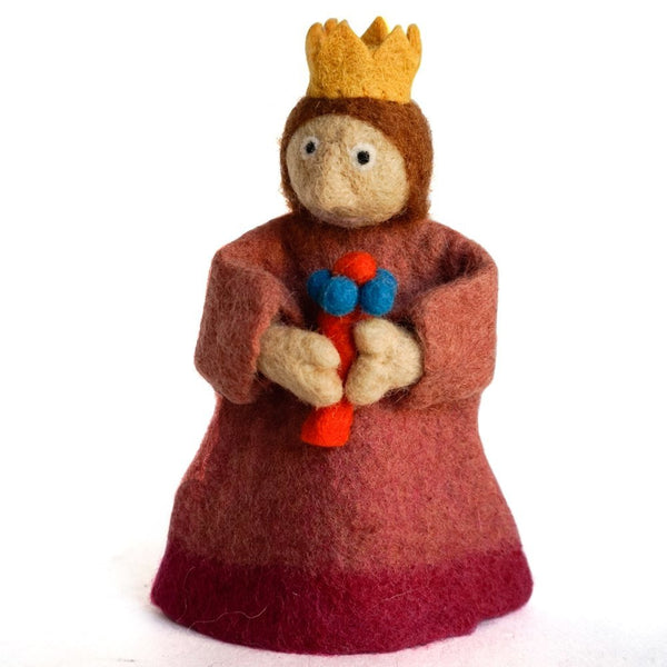 Handmade Wool Needle Felted Wine Bottle Cover, Gold Crown