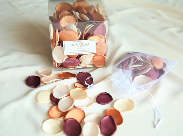 UNIQOOO Silk Satin Rose Petals for Weddings | Grape/Champagne/Blush/Caramel
