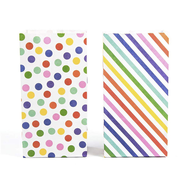 Party Favor Rainbow Polka Dot and Stripe Treat Bags - 72 Pcs- Party Favor Candy Bags, Recyclable Paper Goodie Bags for Kids Birthday Party, Baby Shower, Party Supplies Decoration