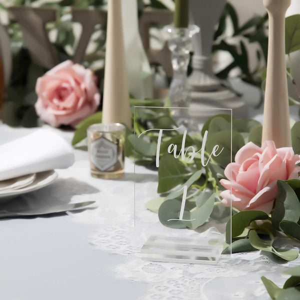 UNIQOOO Acrylic Wedding Table Numbers 1-20 | 4x6 inch Printed Calligraphy, Clear Table Number Signs