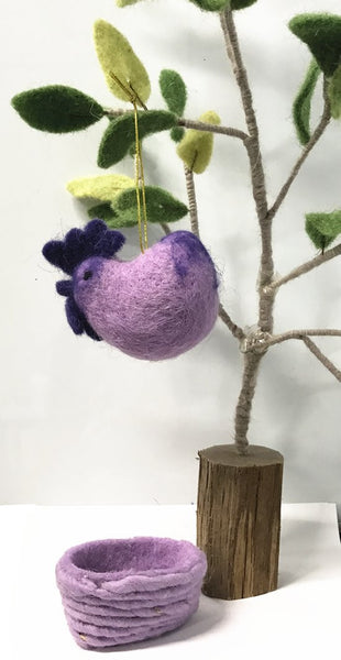 Handmade Wool Needle Felted Rooster Ornaments