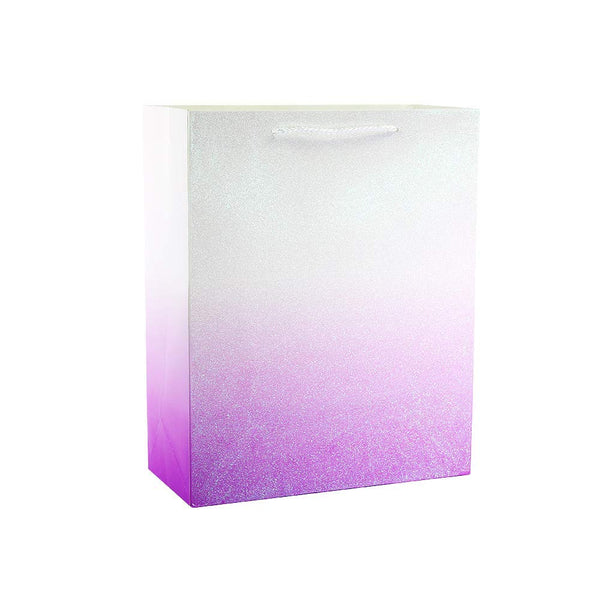UNIQOOO 12Pcs Premium Glitter Ombre Gift Bags,Large 12.5x10.5x4'',Shopping Gift Bag Bulk,Sparking Gold,Pink,Purple,Blue Recyclable Kraft Paper,Gift Wrap Party Favor Bags for Bridal Wedding Christmas