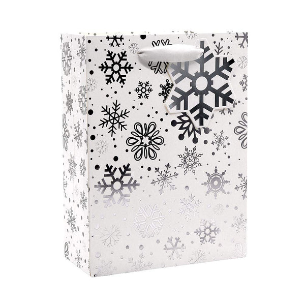 UNIQOOO 12 Pack Premium Holiday Silver Metallic Foil Christmas Gift Bags Bulk,11'' x 7'' x 3'' Each, Perfect for Party, Holiday, Christmas, Thanksgiving, New Year