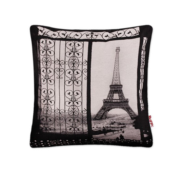 3D Woven Vintage Art Paris Eiffel Tower Decortive Pillow Case Cushion Cover Shams