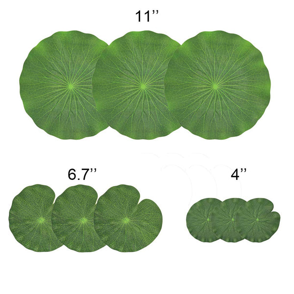 NAVADEAL Pack of 9 Artificial Floating Foam Lotus Leaves | Water Lily Pads Ornaments, Green | Perfect for Patio Koi Fish Pond Pool Aquarium Home Garden Wedding Party Special Event Decoration