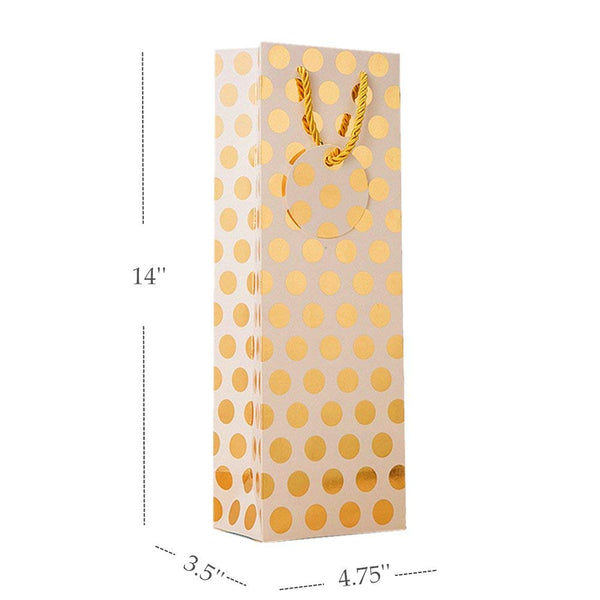 "UNIQOOO 12Pcs Premium Quality Gold & Silver Metallic Foil Polka Dots Wine Gift Bag Bulk, w/Gift Massage Tag,100% Recyclable Paper,14""x4.75""x3.5"" Wine Carrier Bags Tote Gift Bags, Party Gift Wrapping"