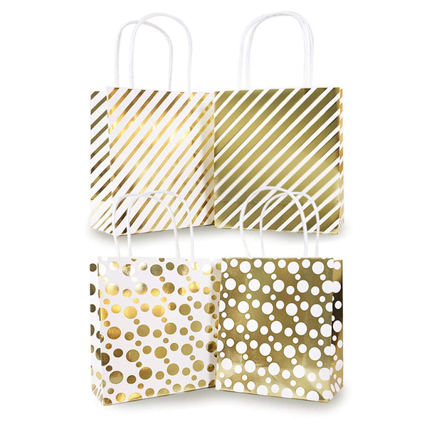"12Pcs Premium Bulk Small Gold Chrome Metallic Gift Treat Bags, Polka Dots, Strips Kraft Paper Handle Wrapping Bags, 6 3/4"" x 5 3/4 x2 3/4"" for Party, Holiday,Christmas Holiday Gift Bags  Brand Name:  UNIQOOO"