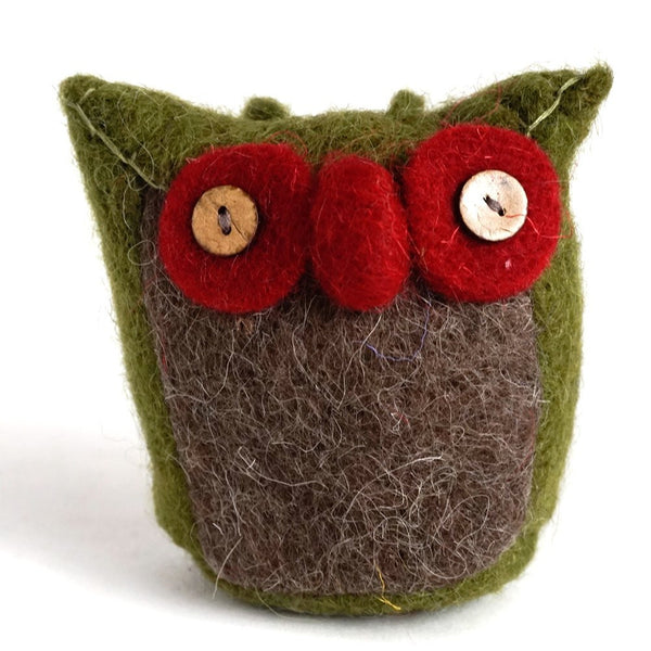 Handmade Wool Needle Felted Ornaments - Olive Green Cute Owl