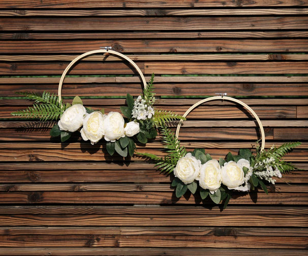 UNIQOOO Floral Hoops Set Wreaths Wedding Chair Decor