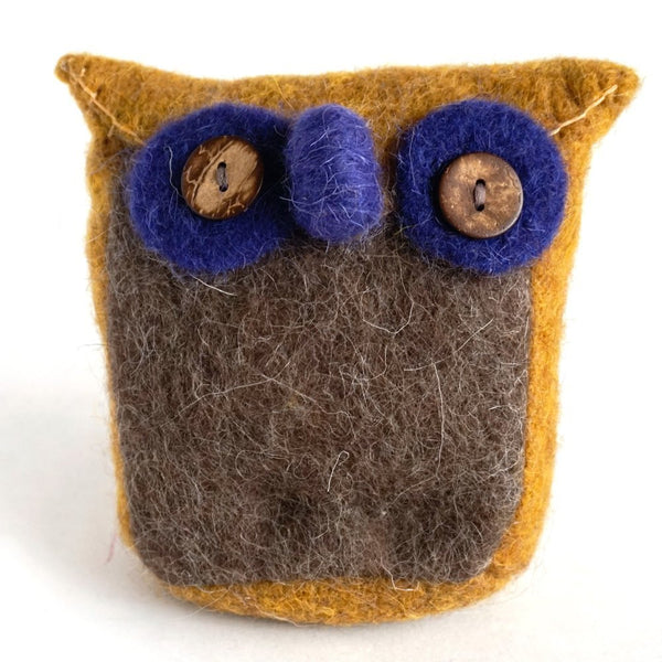 Handmade Wool Needle Felted Ornaments - Ginger Cute Owl