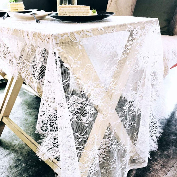 UNIQOOO Wedding White Lace Table Runner