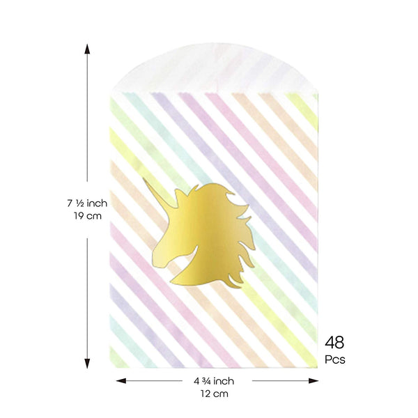 UNIQOOO Party Favor Sparkling Foil Rainbow Unicorn Treat Bags 48 Pcs- Candy Bags, Recyclable Paper Goodie Bags for Kids Birthday Party, Baby Shower, Party Supplies Decoration