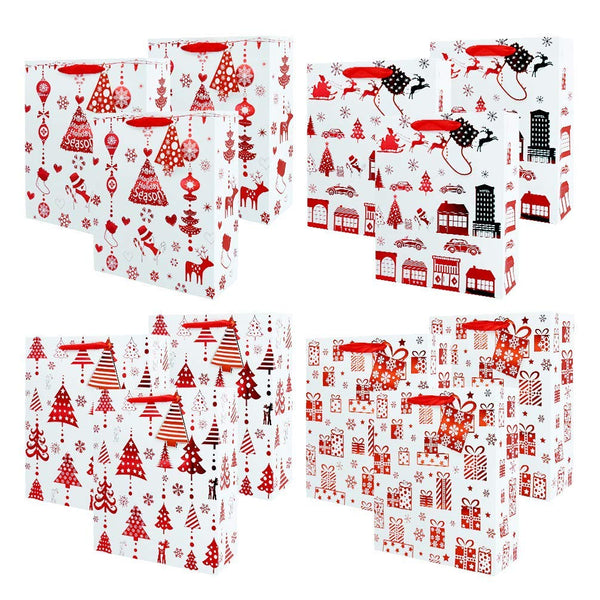 UNIQOOO 12 Pack Premium Foil Red Christmas Gift Wrap Bags Bulk, Perfect for Party, Holiday, Christmas, Thanksgiving, New Year