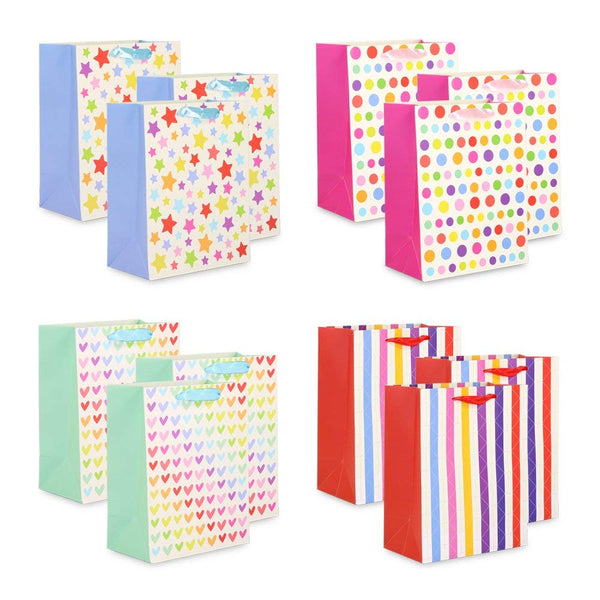 12 Pcs Gift Bags- Premium Bulk Assorted Gift Bags with Strong Handles - Assorted Designs for Christmas, New Year, Birthday, Holiday, Party (New Rainbow)