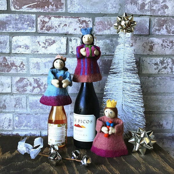 Handmade Wool Needle Felted Wine Bottle Cover, Blue Crown