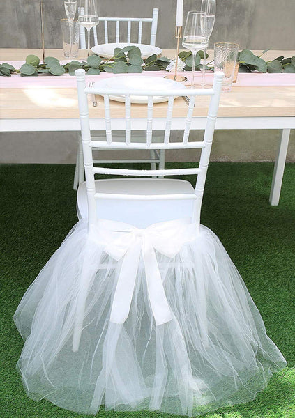 UNIQOOO Chair Tulle Tutu Decoration for Bridal Shower