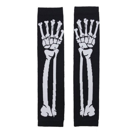 Black Punk Gothic Dark Rock White Skeleton Long Arm Warmer Fingerless Gloves