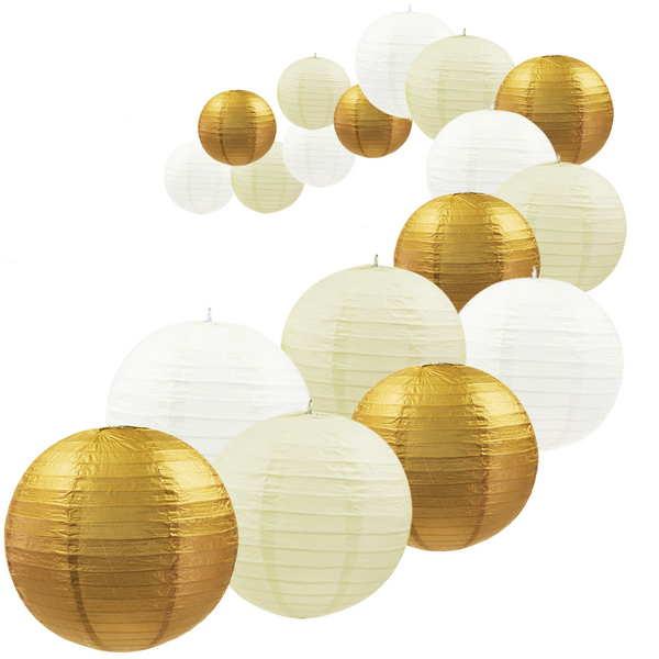 UNIQOOO 18Pcs Premium Assorted Size/Color Gold Paper Lantern Set, Reusable Hanging Decorative Japanese Chinese Paper Lanterns, Easy Assemble, for Birthday Wedding Baby Shower Holiday Party
