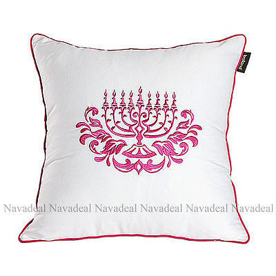 Art Pink Lotus Candle Chandelier Embroidery Decorative Pillow Case Cushion Cover