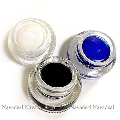 3 Colors Black Blue Highlight White Eyeliner Gel Long Wear Waterproof Eye Makeup