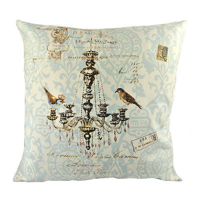 Vintage French Fashion Chandelier 2 Birds Decorative Pillowcase Cushion Cover