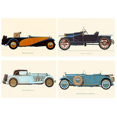 4pcs Vintage Muscle Cars Jalopy BUGATTI DELAGE SUIZA BENZ Canvas Wall Posters
