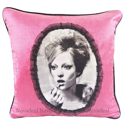 Pink Velvet Sexy Model Girl Portrait Lace Decorative Pillow Case Cushion Cover