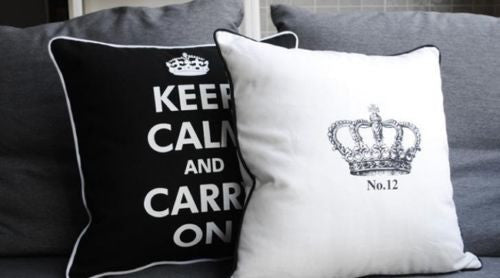 Large Black KEEP CALM AND CARRY ON Decortavie Pillow Case Cushion Cover Shams