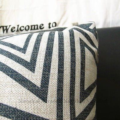 "Nw 17"" Black White Triangle Art Morden Decorative Pillow Case Cushion Cover Sham"