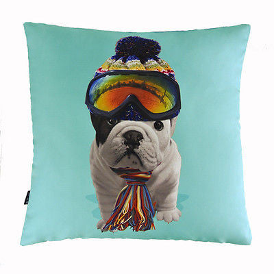 Blue Sporty Bulldog Goggle Scarf Puppy Decorative Pillow Case Cushion Cover Sham