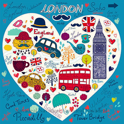 London Bus Tower Bridge Big Ben Kids Room Cartoon Art Decor Canvas Wall Poster