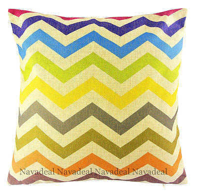 Morden Colorful Decorative Stripes Zigzag Art Pop Pillow Case Cushion Cover