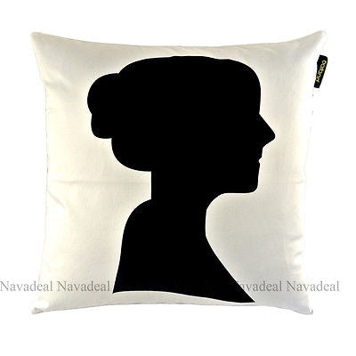 Art Black White Female Silhouette Decorative Pillow Case Cushion Cover