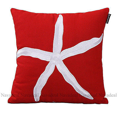 Red Big Sea Starfish Embroidery Art Decorative Pillow Case Cushion Cover Sham