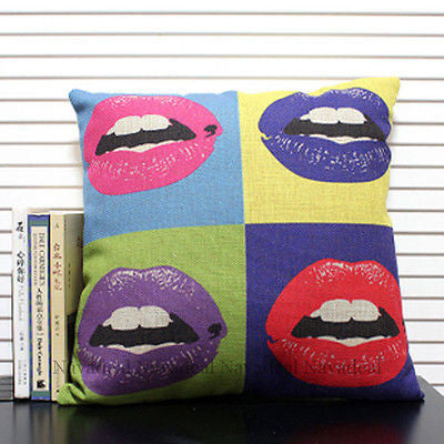 Hot Modern Pop Art Rock Sexy Lips Decorative Pillow Case Cushion Cover Shams