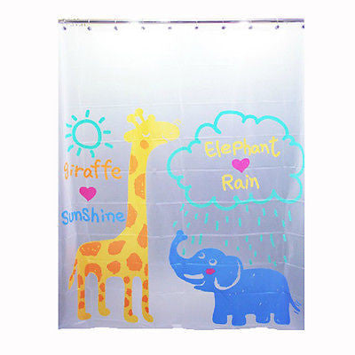 Cartoon Giraffe & Elephant Shower Curtain, Kids