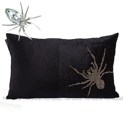 Black Velvet Crystal Spider Gothic Decorative Lumbar Pillow Case Cushion Cover