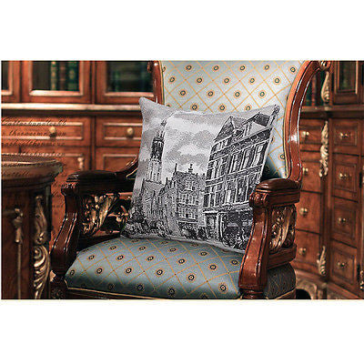 Vintage Paris Grand Cathedral Steets Art Decorative Pillowcase Cushion Cover