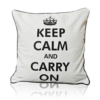 Modern White 22'' KEEP CALM CARRY ON Decorative Pillow Case Cushion Cover Shams