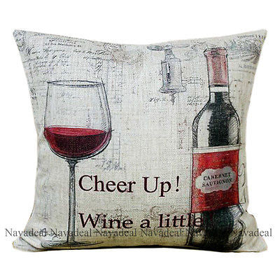Vintage Red Cheer Up Wine Lover Country Decorative Pillow Case Cushion Cover