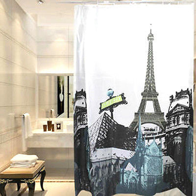 Image of Paris Eiffel Tower Notre Dame Cathedral Shower Curtain