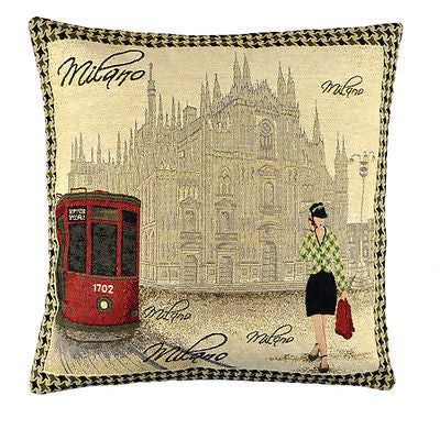 Vintage Milan Cathedral Bus Green Lady Decorative Pillow Case Cushion Cover